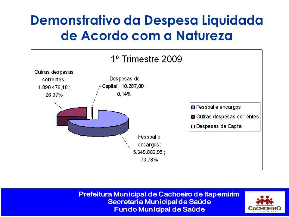 Demonstrativo da Despesa Liquidada de Acordo com a Natureza