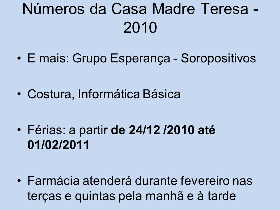 Números da Casa Madre Teresa - 2010