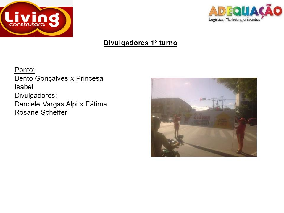 Divulgadores 1° turno Ponto: Bento Gonçalves x Princesa Isabel.