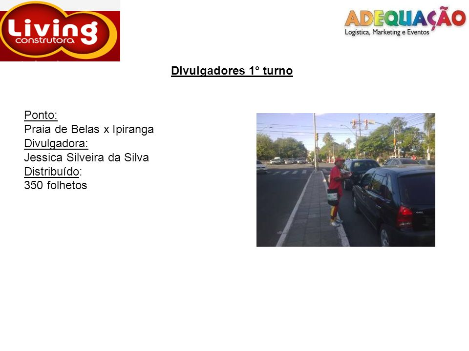 Divulgadores 1° turnoPonto: Praia de Belas x Ipiranga. Divulgadora: Jessica Silveira da Silva. Distribuído: