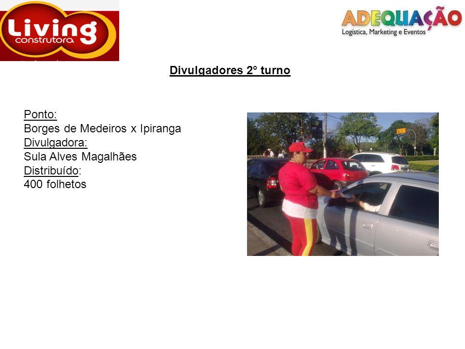 Divulgadores 2° turno Ponto: Borges de Medeiros x Ipiranga. Divulgadora: Sula Alves Magalhães. Distribuído: