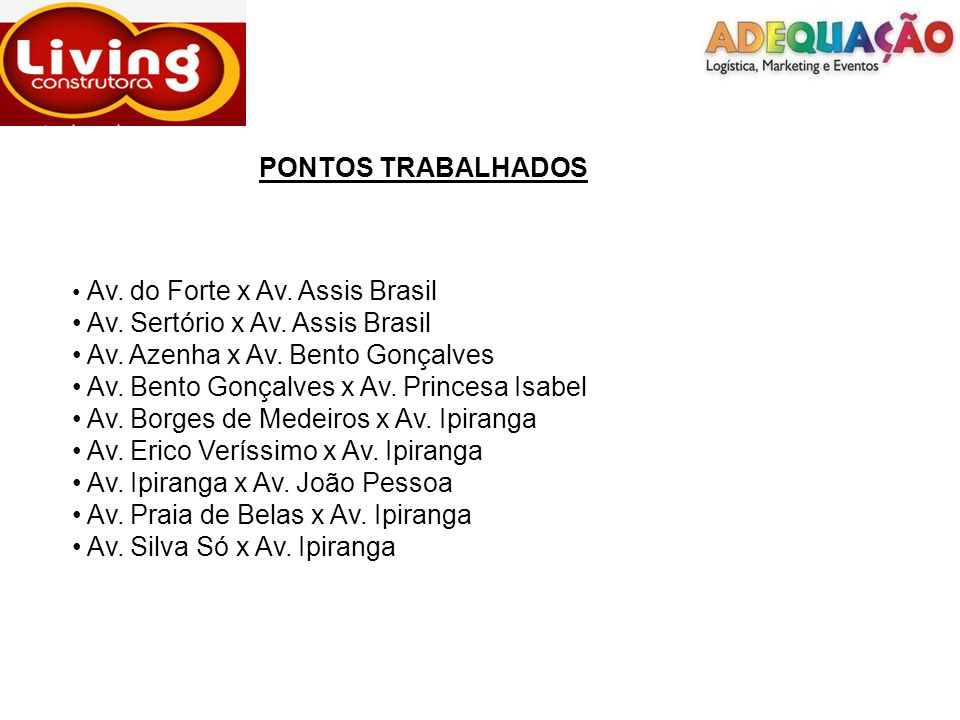 PONTOS TRABALHADOS Av. Sertório x Av. Assis Brasil