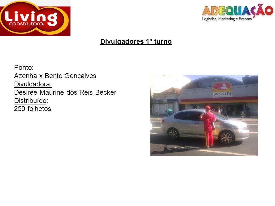 Divulgadores 1° turnoPonto: Azenha x Bento Gonçalves. Divulgadora: Desiree Maurine dos Reis Becker.