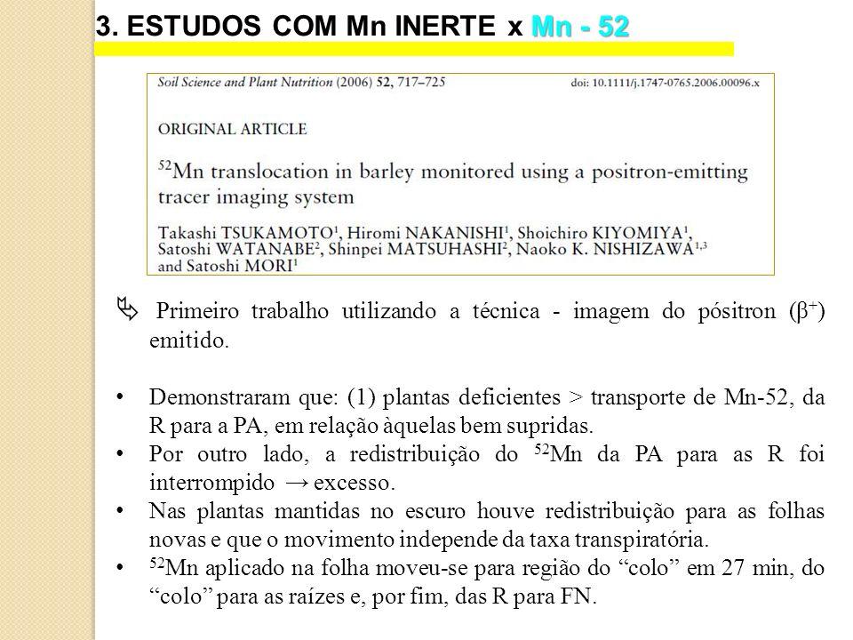 3. ESTUDOS COM Mn INERTE x Mn - 52