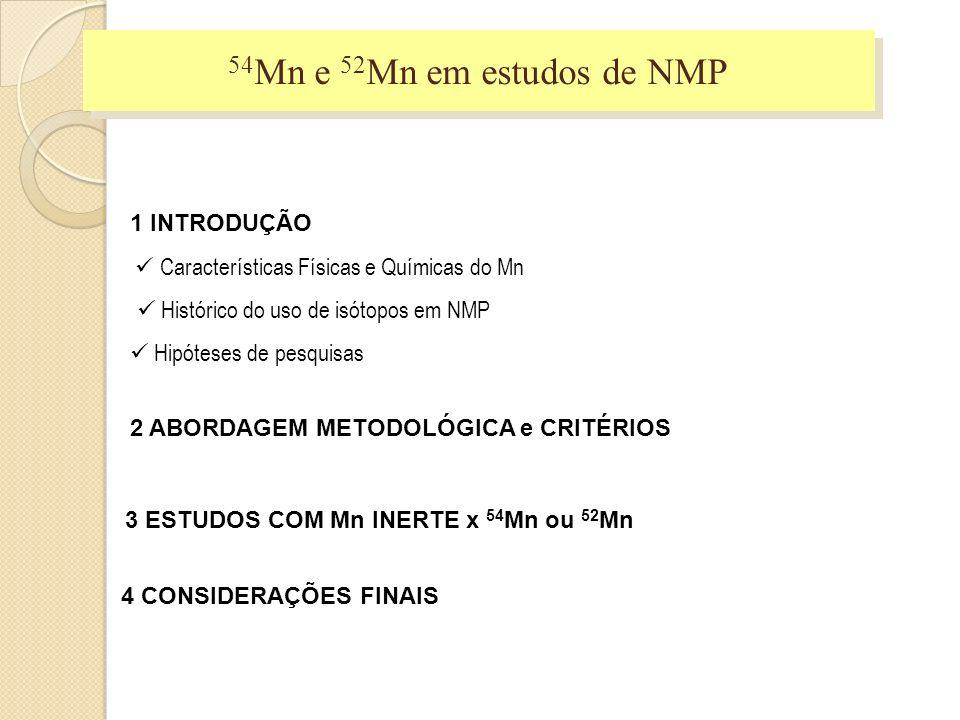 54Mn e 52Mn em estudos de NMP 1 INTRODUÇÃO