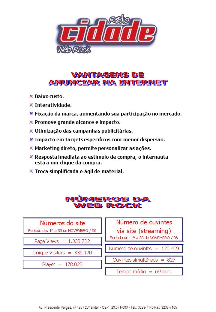 VANTAGENS DE ANUNCIAR NA INTERNET NÚMEROS DA WEB ROCK