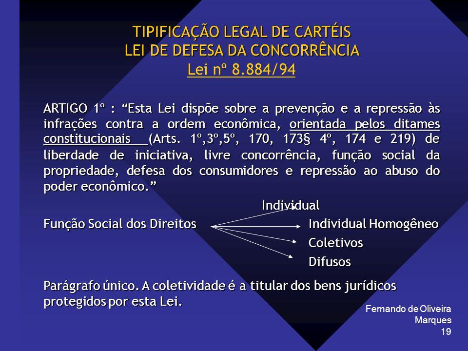 TIPIFICAÇÃO LEGAL DE CARTÉIS