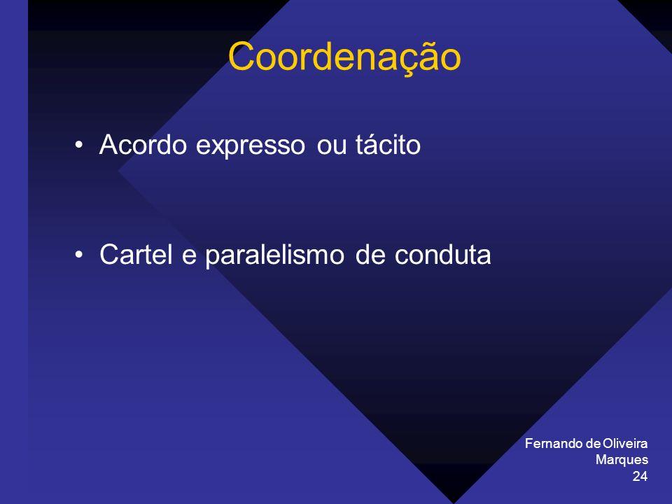 Coordenação Acordo expresso ou tácito Cartel e paralelismo de conduta