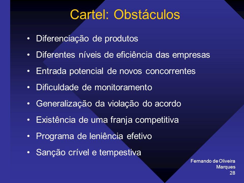 Cartel: Obstáculos Diferenciação de produtos