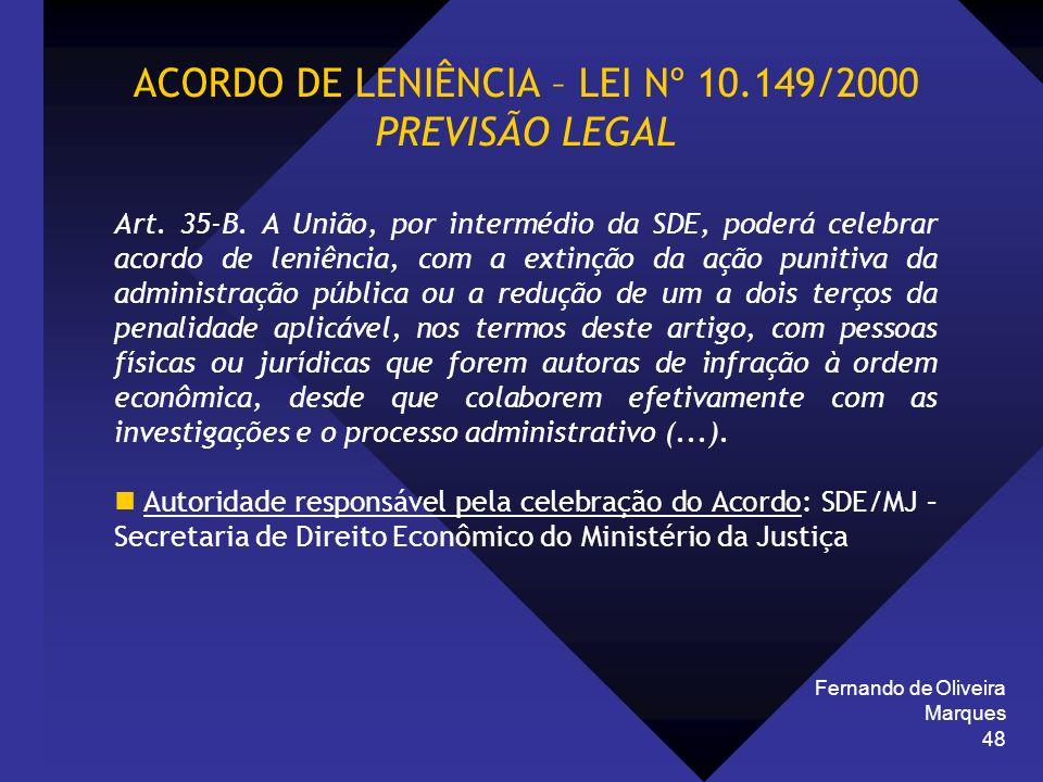 ACORDO DE LENIÊNCIA – LEI Nº 10.149/2000