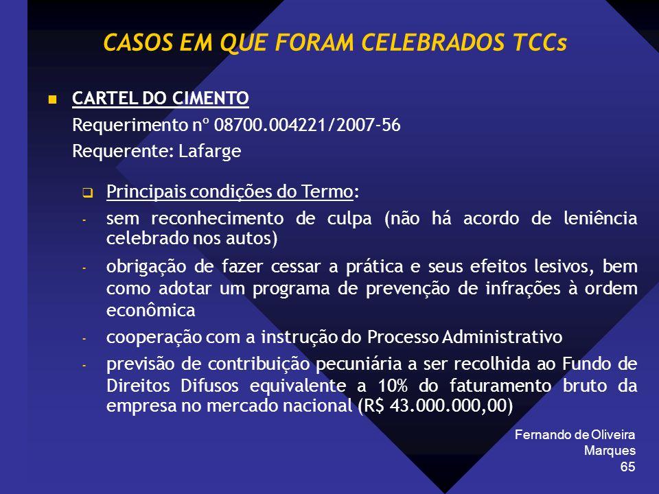 CASOS EM QUE FORAM CELEBRADOS TCCs