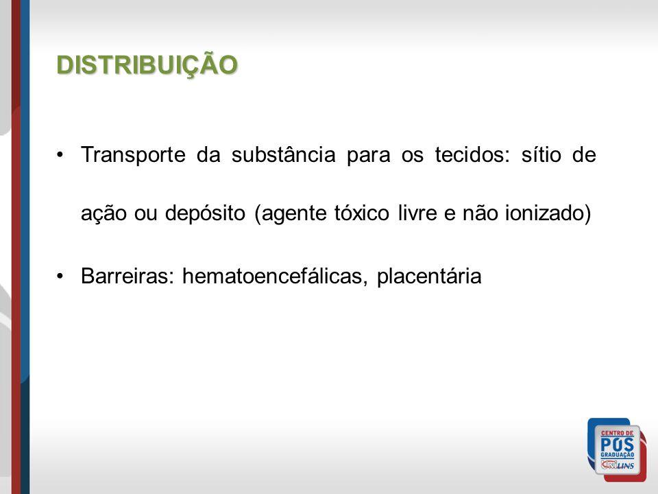 DISTRIBUIÇÃO Transporte da substância para os tecidos: sítio de ação ou depósito (agente tóxico livre e não ionizado)