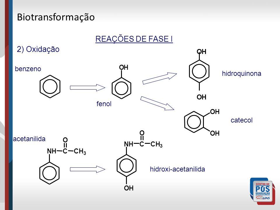 Biotransformação REAÇÕES DE FASE I 2) Oxidação O H benzeno