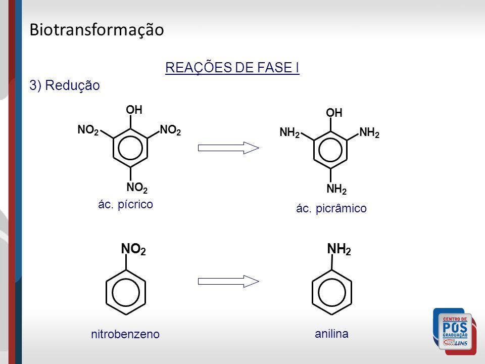 Biotransformação REAÇÕES DE FASE I 3) Redução N O N H ác. pícrico