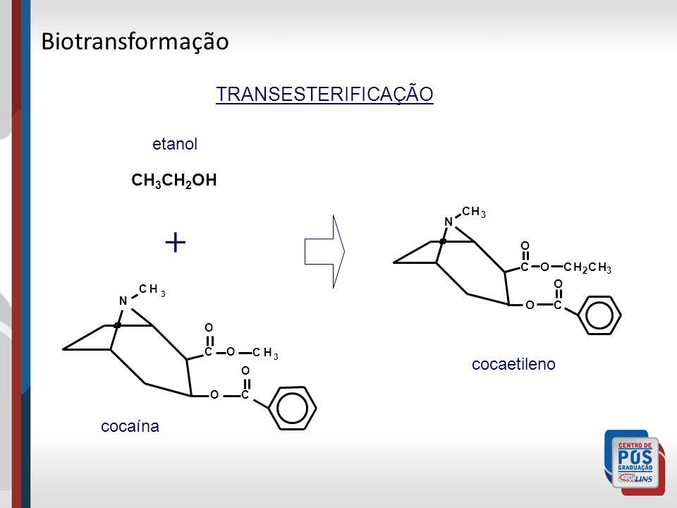 + Biotransformação TRANSESTERIFICAÇÃO etanol CH3CH2OH cocaetileno