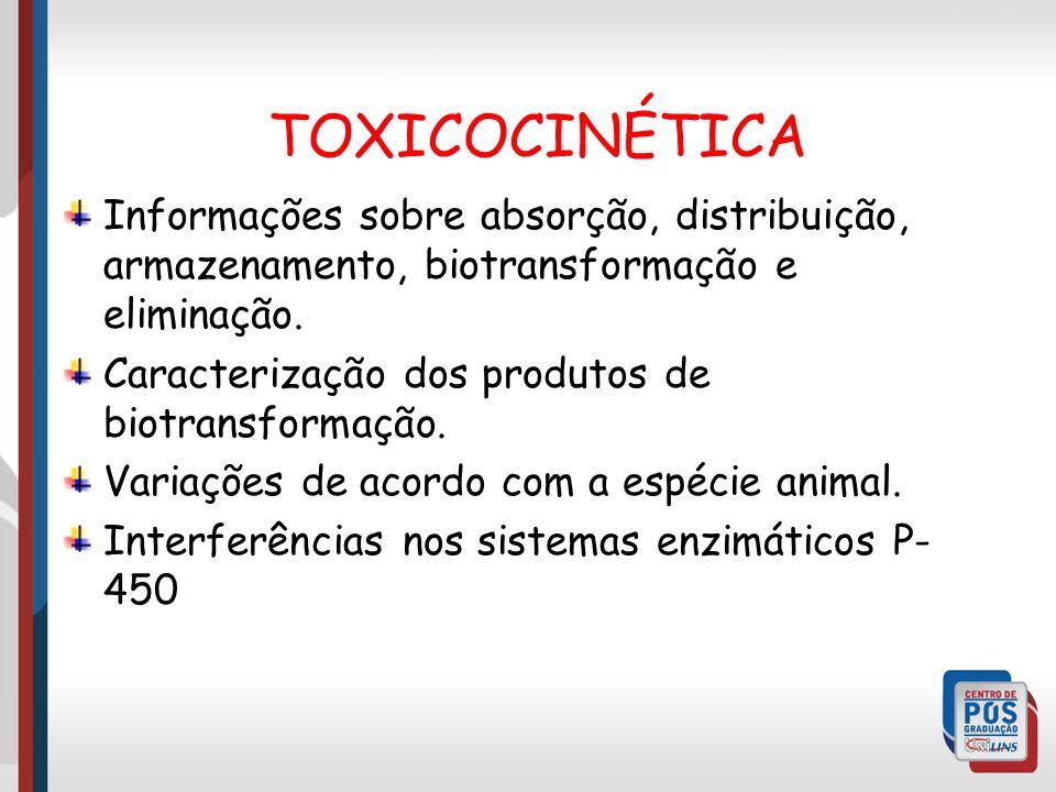 TOXICOCINÉTICA Informações sobre absorção, distribuição, armazenamento, biotransformação e eliminação.