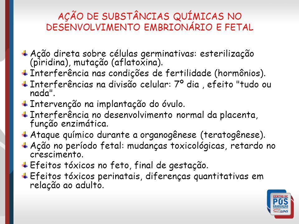 AÇÃO DE SUBSTÂNCIAS QUÍMICAS NO DESENVOLVIMENTO EMBRIONÁRIO E FETAL
