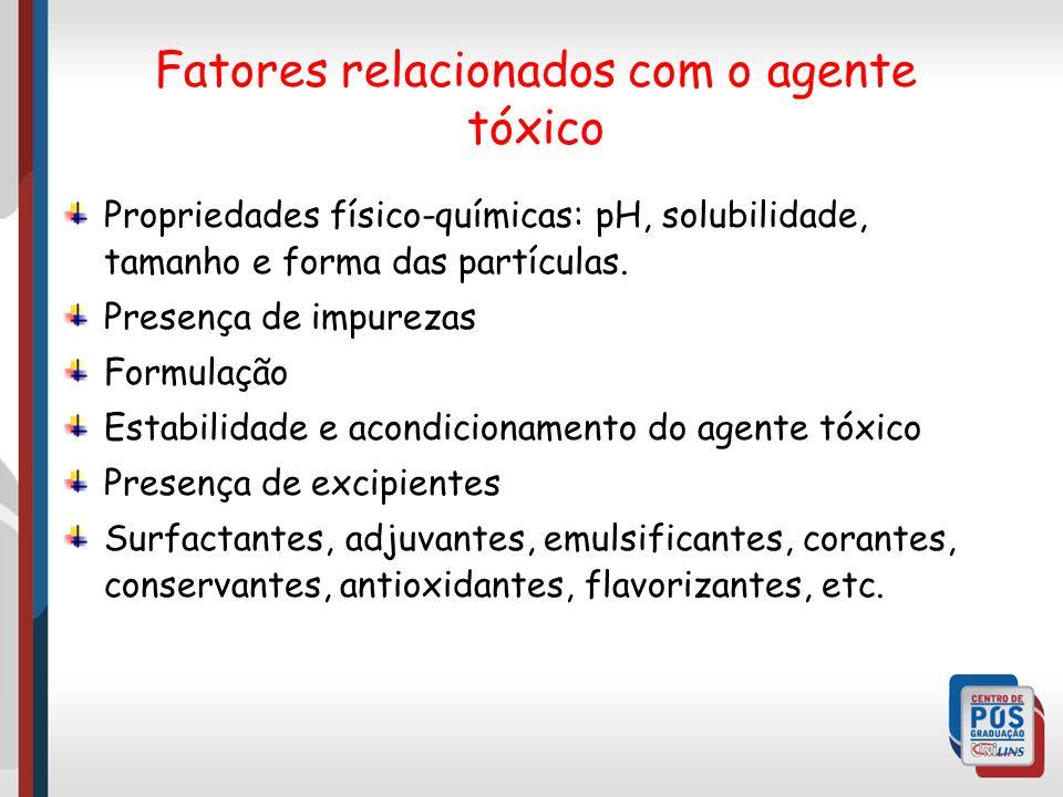 Fatores relacionados com o agente tóxico
