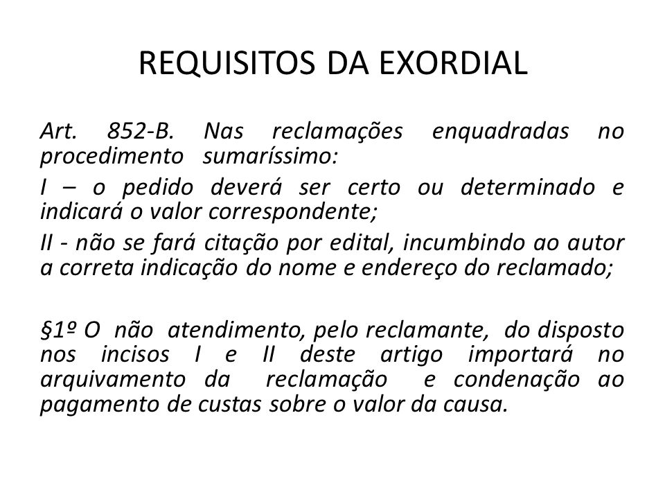 REQUISITOS DA EXORDIAL