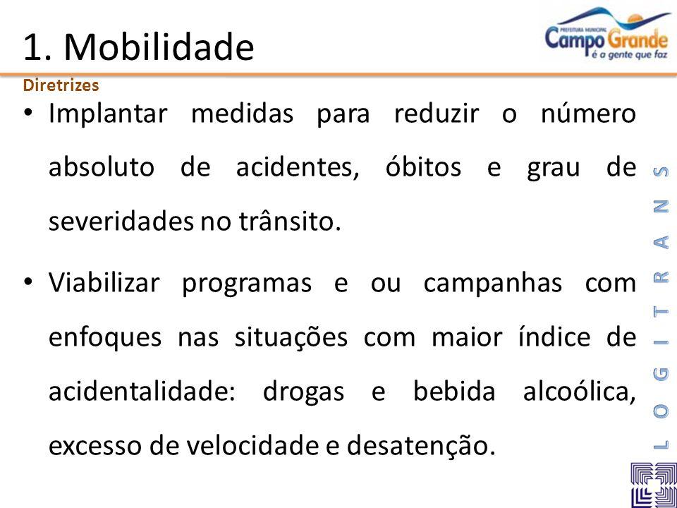 1. Mobilidade Diretrizes. Implantar medidas para reduzir o número absoluto de acidentes, óbitos e grau de severidades no trânsito.