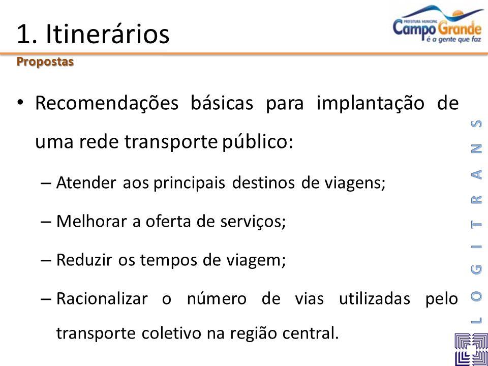 1. Itinerários Propostas. Recomendações básicas para implantação de uma rede transporte público: Atender aos principais destinos de viagens;