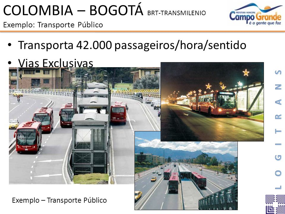 COLOMBIA – BOGOTÁ BRT-TRANSMILENIO Exemplo: Transporte Público