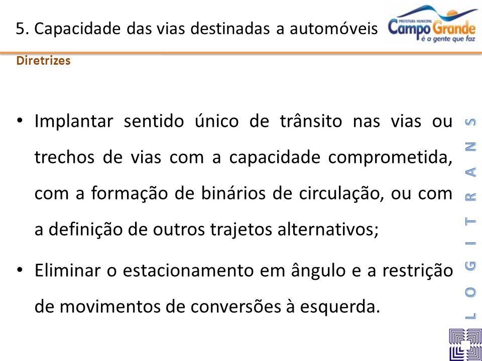 5. Capacidade das vias destinadas a automóveis