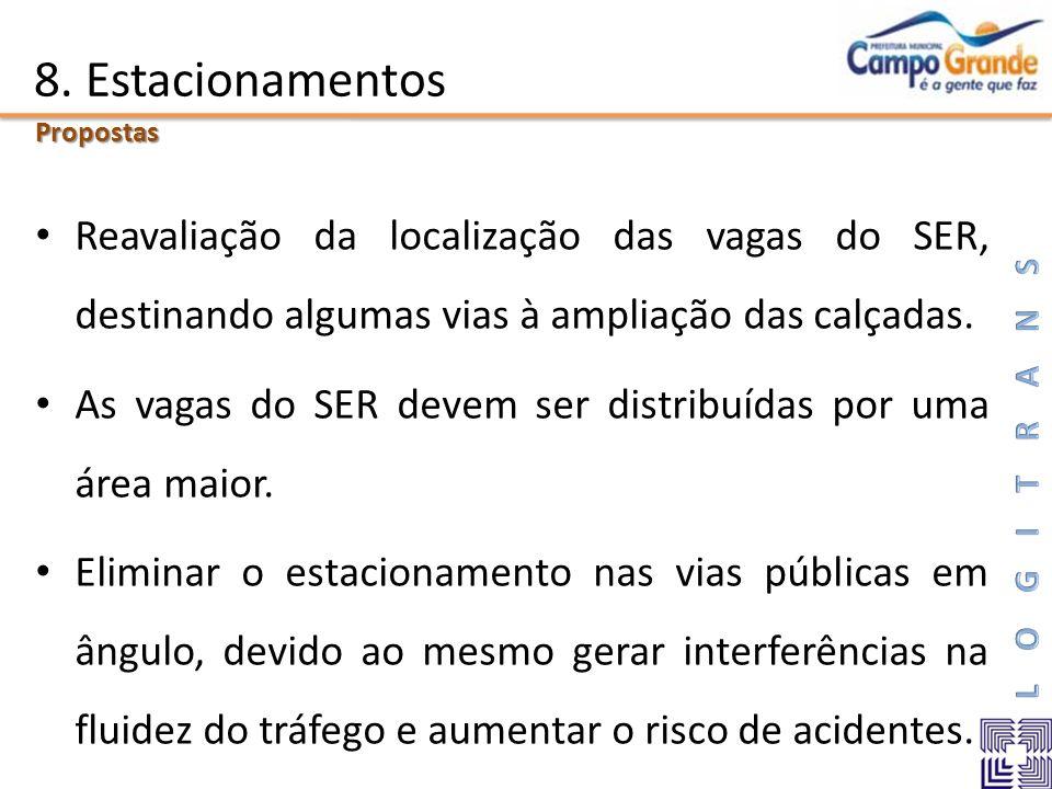 8. EstacionamentosPropostas. Reavaliação da localização das vagas do SER, destinando algumas vias à ampliação das calçadas.