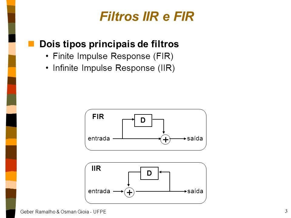 Filtros IIR e FIR + + Dois tipos principais de filtros