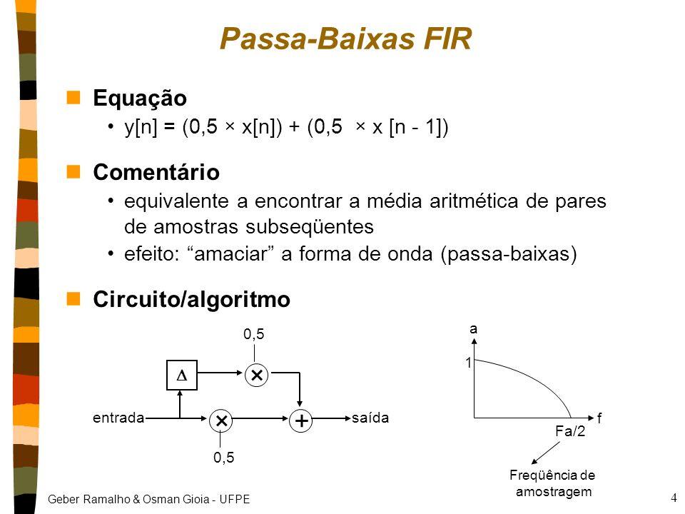 Passa-Baixas FIR × + Equação Comentário Circuito/algoritmo