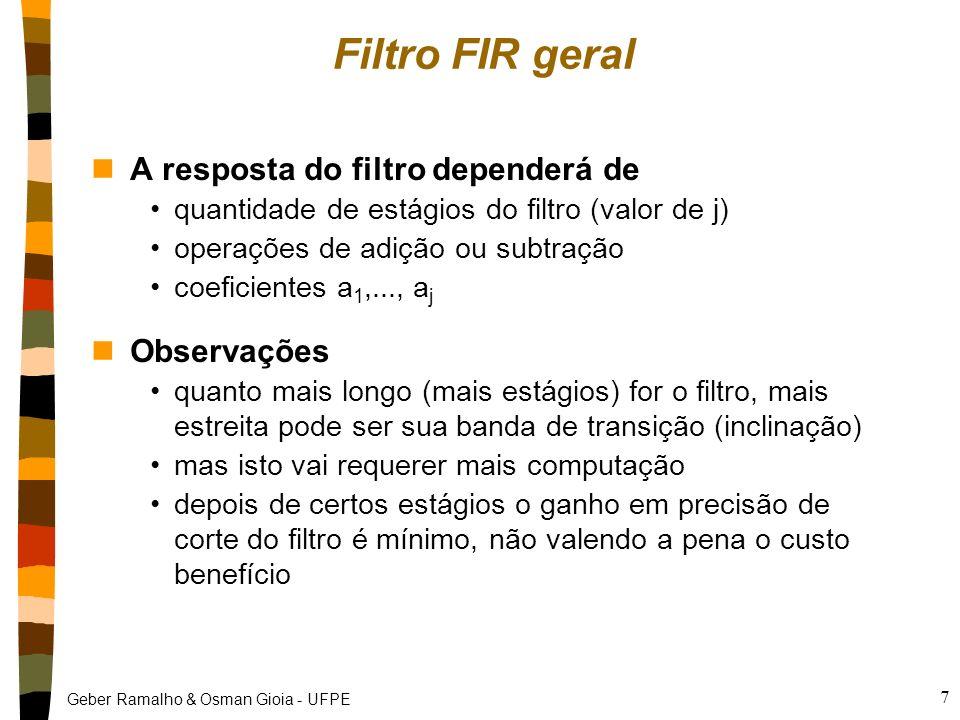 Filtro FIR geral A resposta do filtro dependerá de Observações