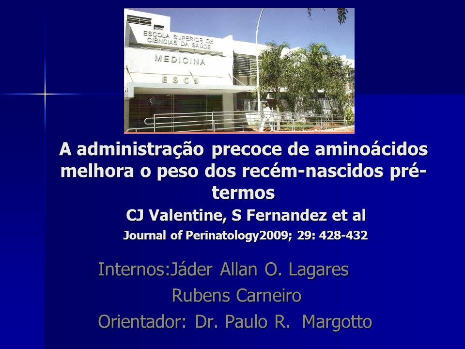 A administração precoce de aminoácidos melhora o peso dos recém-nascidos pré-termos CJ Valentine, S Fernandez et al Journal of Perinatology2009; 29: 428-432