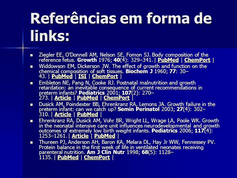 Referências em forma de links: