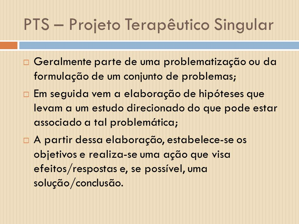 PTS – Projeto Terapêutico Singular