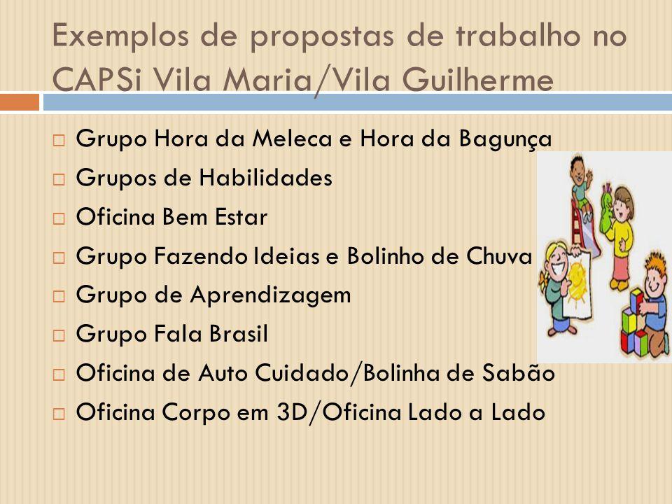 Exemplos de propostas de trabalho no CAPSi Vila Maria/Vila Guilherme