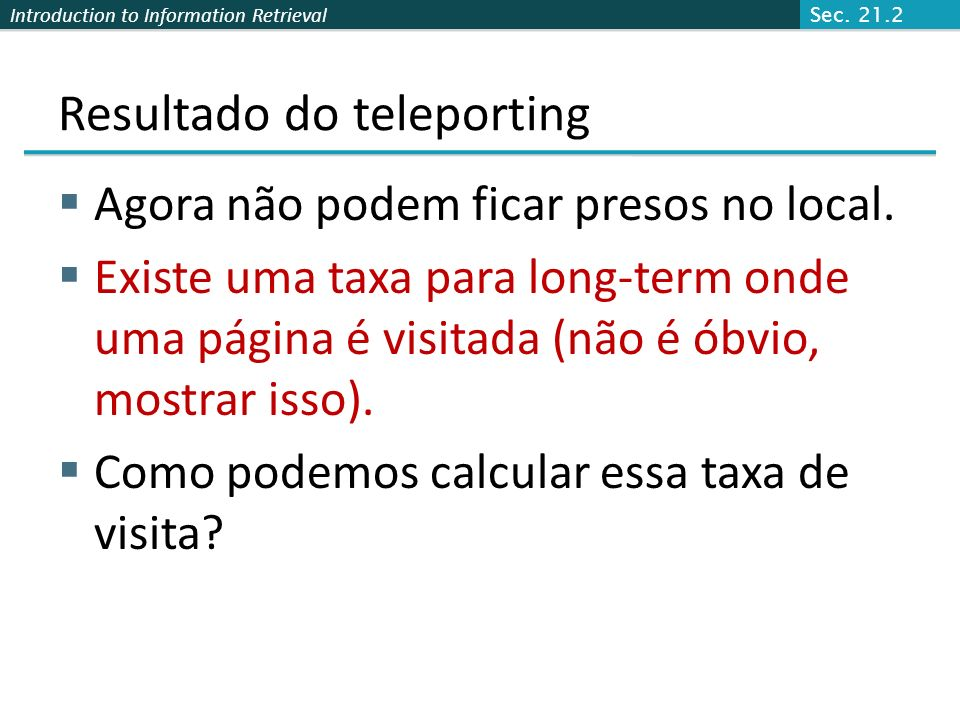 Resultado do teleporting