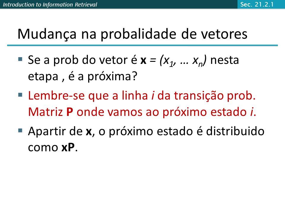 Mudança na probalidade de vetores