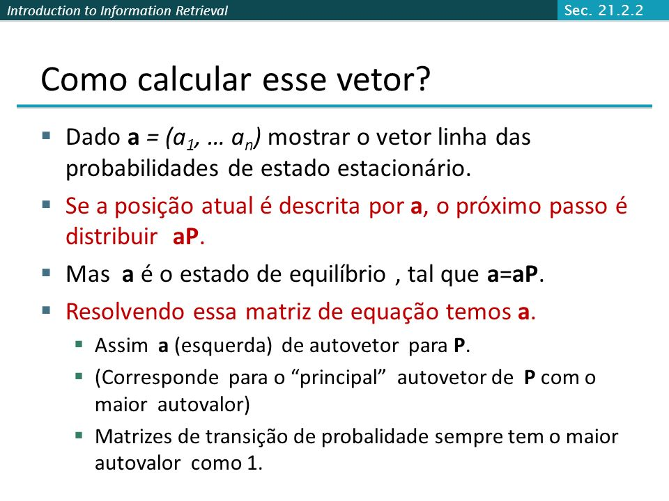Como calcular esse vetor