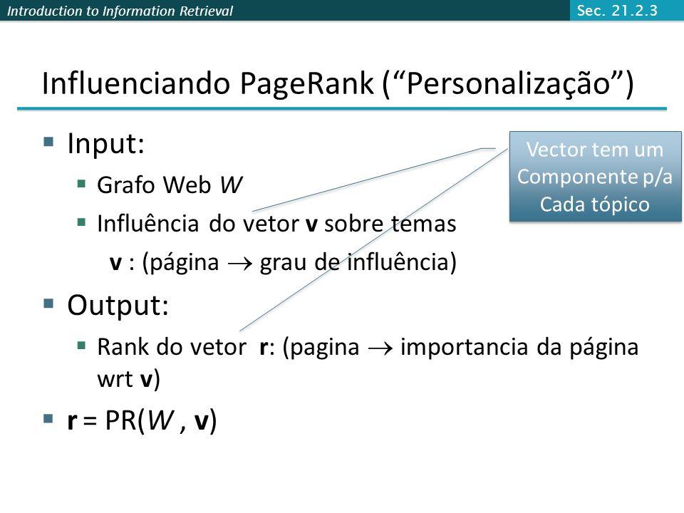 Influenciando PageRank ( Personalização )