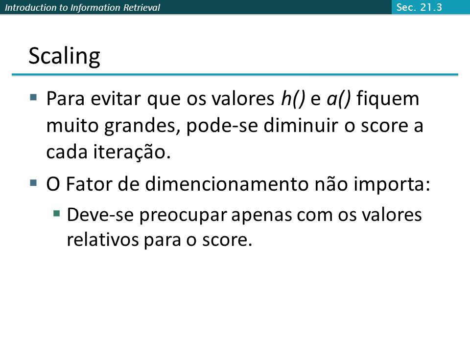 Sec. 21.3 Scaling. Para evitar que os valores h() e a() fiquem muito grandes, pode-se diminuir o score a cada iteração.