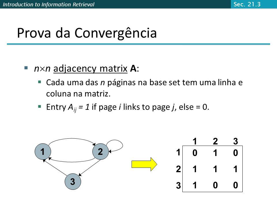Prova da Convergência nn adjacency matrix A: