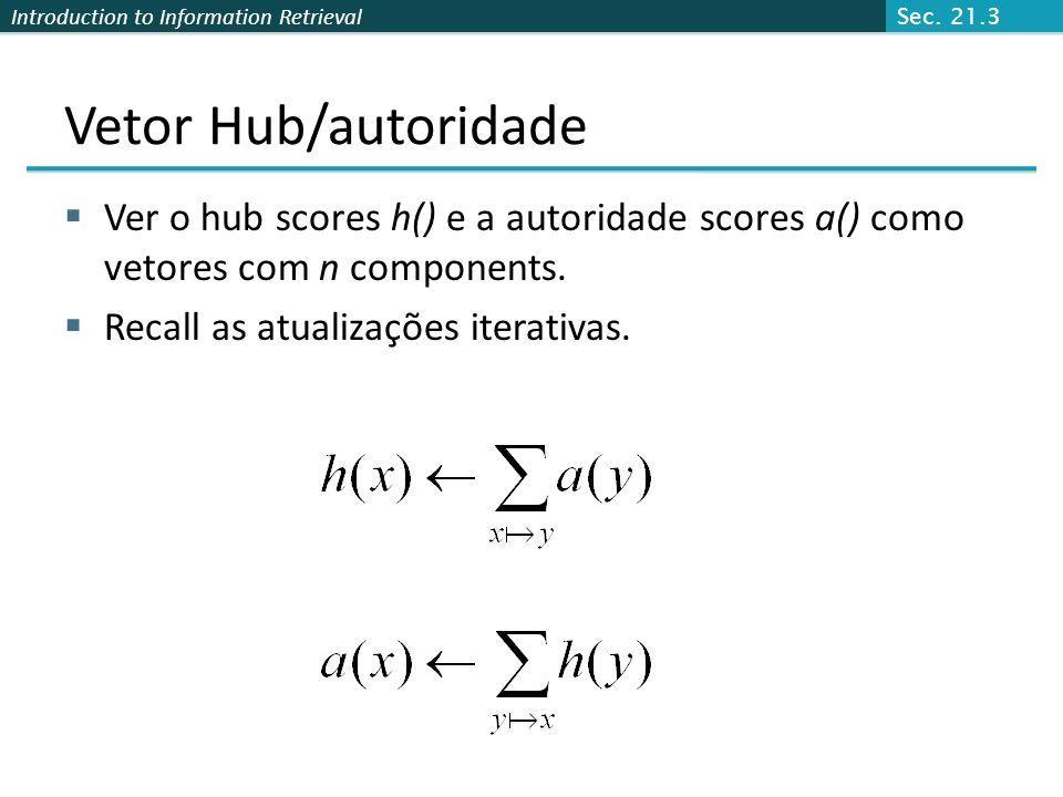 Sec. 21.3 Vetor Hub/autoridade. Ver o hub scores h() e a autoridade scores a() como vetores com n components.