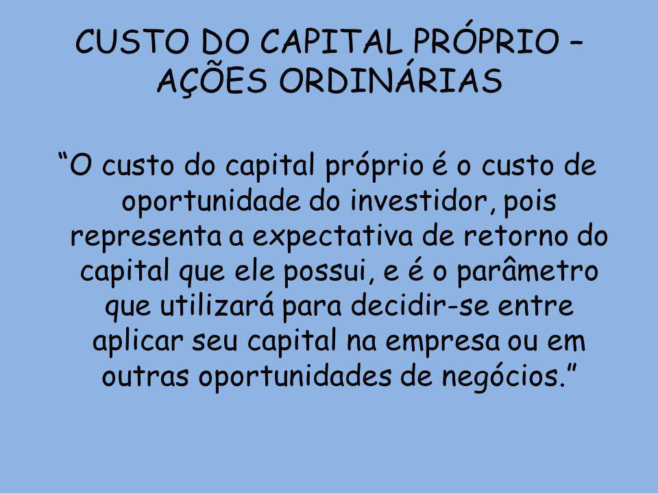 CUSTO DO CAPITAL PRÓPRIO – AÇÕES ORDINÁRIAS