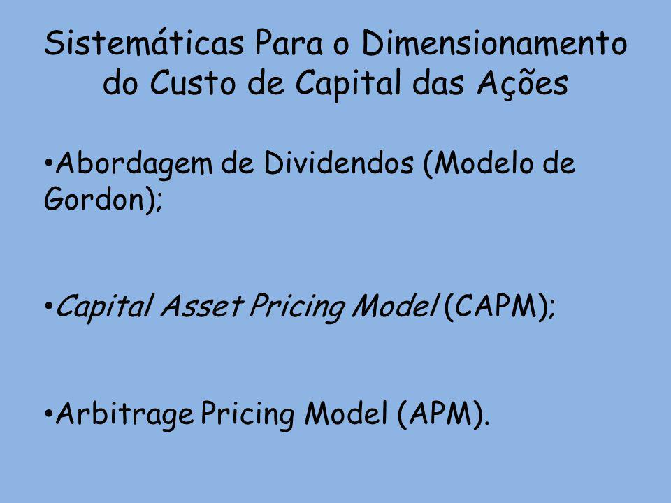 Sistemáticas Para o Dimensionamento do Custo de Capital das Ações