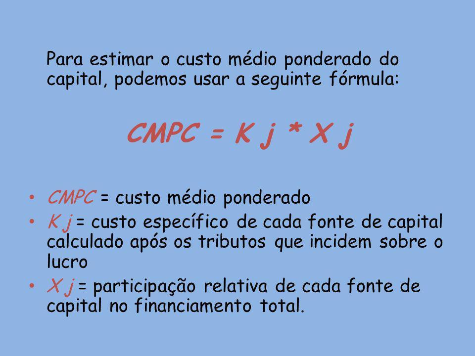CMPC = K j * X j CMPC = custo médio ponderado
