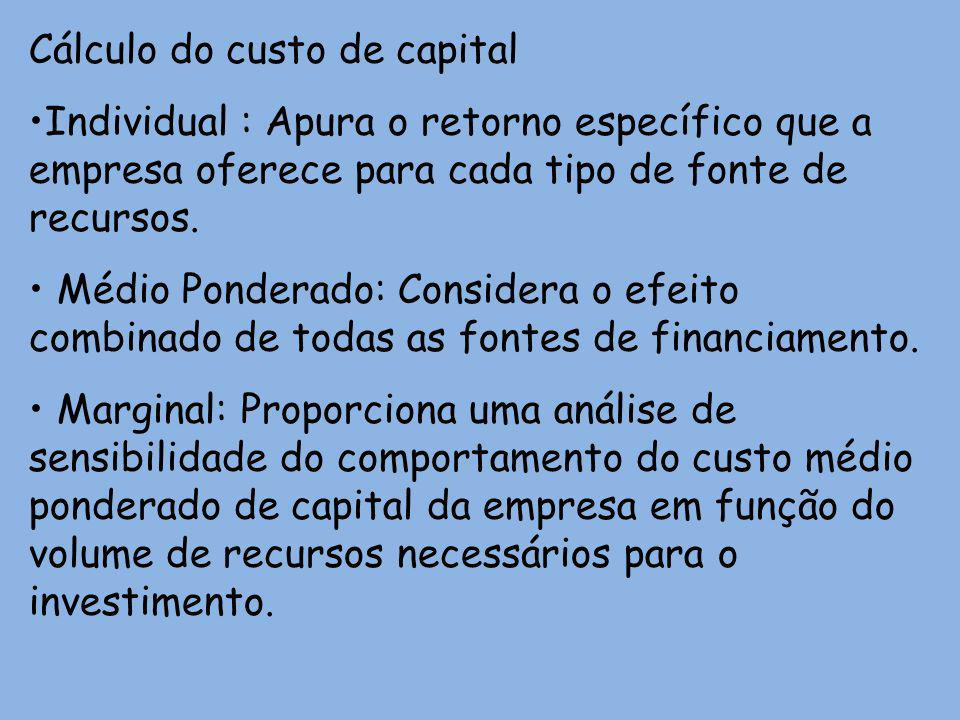 Cálculo do custo de capital