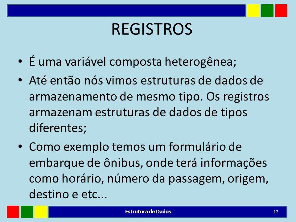 REGISTROS É uma variável composta heterogênea;