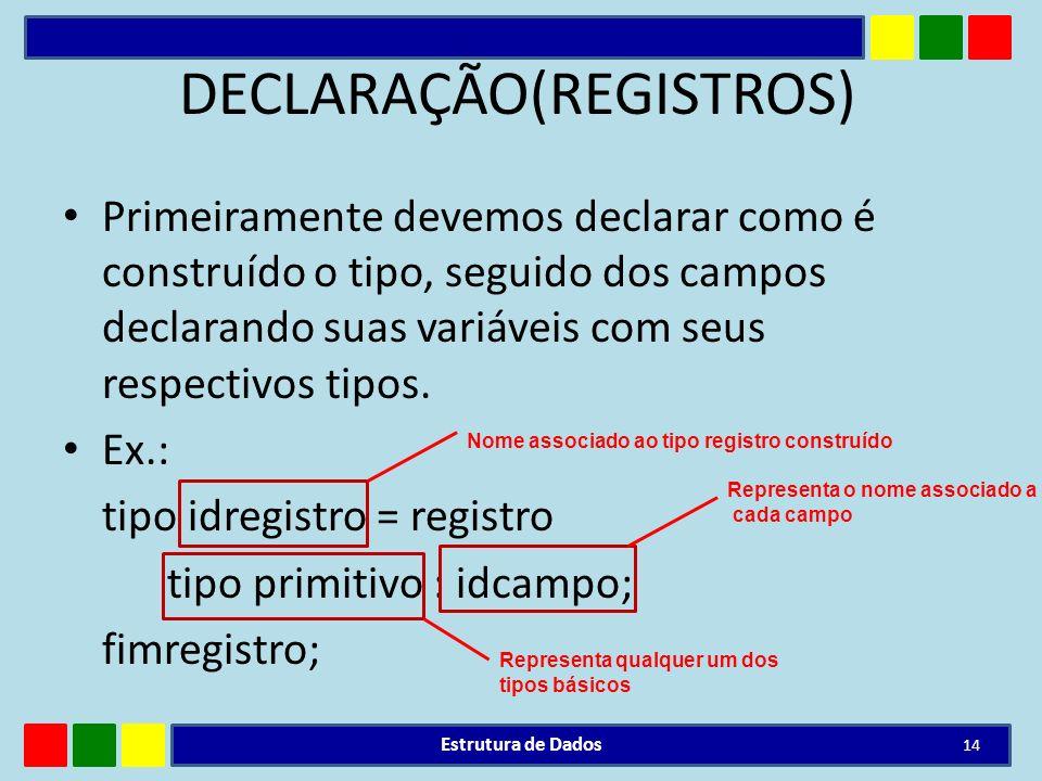 DECLARAÇÃO(REGISTROS)