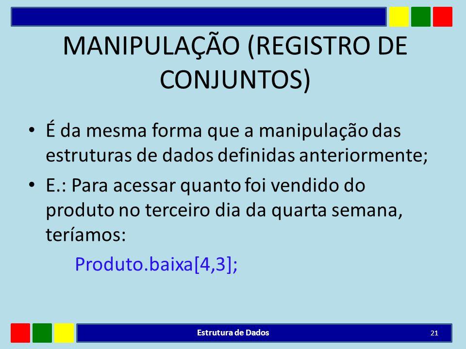 MANIPULAÇÃO (REGISTRO DE CONJUNTOS)