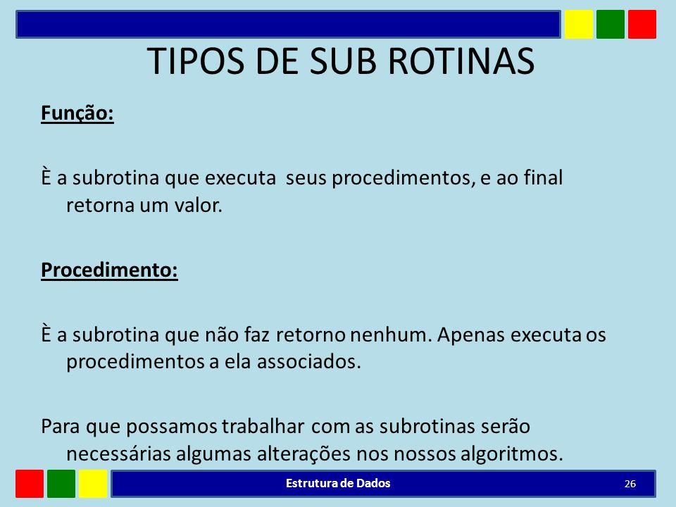 TIPOS DE SUB ROTINAS